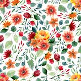 Seamless texture of watercolor flowers and leaves. Bright autumn print with foliage and floral elements Royalty Free Stock Photography