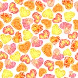 Seamless texture of watercolor hearts. Pattern of decorative hand drawn elements for valentine day and wedding design on white background Stock Images