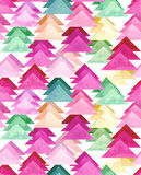 Seamless Texture With Watercolor Magenta And Green Triangles Royalty Free Stock Photo