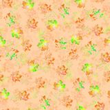 Seamless texture of watercolor multicolored spots on an orange background. stock illustration