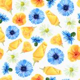Seamless texture of watercolor summer meadow flowers. Bright floral print with natural elements vector illustration