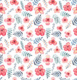 Seamless Texture With Watercolor Tropical Light Red Flowers And Blue Leaves Royalty Free Stock Images