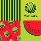 Seamless texture of watermelon. Set of cartoon seamless texture of watermelon Royalty Free Stock Photography