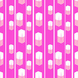 Seamless texture white cubes with pink background Stock Image