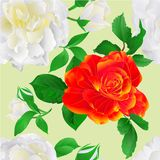 Seamless texture White and orange Roses with buds and leaves vintage Festive blue background vintage vector illustration editabl. E hand draw Stock Photo
