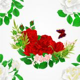 Seamless texture   white and red  Roses  and butterfly vintage  festive  background vector illustration editable. Hand draw Stock Photos