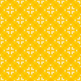 Seamless texture with white and yellow abstract patterns. For tablecloth.Embroidery.Cross stitch Stock Photos