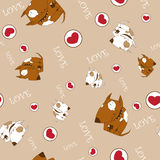 Seamless texture wiht dogs and hearts. Stock Images