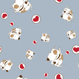 Seamless texture wiht dogs and hearts. Stock Photo