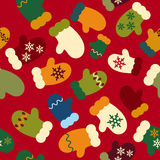 Seamless texture winter mittens background for greeting card New. Year red Royalty Free Stock Photo