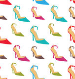 Seamless Texture with Women Summer Shoes Stock Images