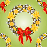 Seamless texture wreath with pussy willow and Daffodil vector Stock Image