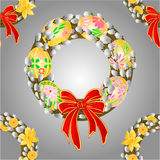 Seamless texture wreath  pussy willow and easter eggs vector Stock Image