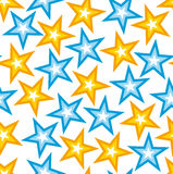 Seamless texture with yellow and blue stars  Royalty Free Stock Photography
