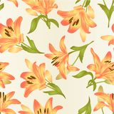 Seamless texture yellow Lily Lilium candidum,flower with leaves and bud vintage vector illustration editable. Hand drawn Stock Photography