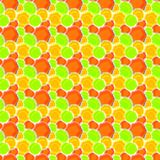 Sunny Spots Geometric Seamless Pattern. Seamless texture with yellow, orange and green circular shape abstract suns geometric pattern. Seamless tile wallpaper Royalty Free Stock Photography
