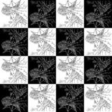 Seamless texture Zodiac sign Aquarius black and white drawing girls with the sea in her hair and a hat in the form of a paper boat stock illustration