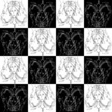 Seamless texture zodiac sign Cancer black and white drawing girl with braids in the form of claws cancer royalty free stock photography