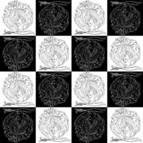Seamless texture zodiac sign Leo black and white drawing a girl with hair like a lion`s mane stock photo