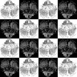 Seamless texture zodiac sign Libra black and white drawing girl in a hat in the form of the zodiac sign Libra royalty free illustration
