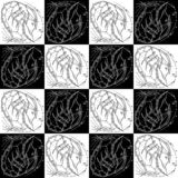 Seamless texture zodiac sign Scorpio black and white drawing profile girl in a space helmet in the shape of a scorpion. Chess texture royalty free illustration