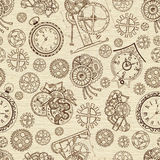 Seamless textured background with clocks and mechanical parts Royalty Free Stock Image