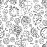 Seamless textured background with clocks and mechanical parts on white Royalty Free Stock Photos