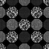 Seamless abstract retro geometric pattern. Patterned, textured hexagons in geometric layout. vector illustration