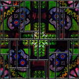 Seamless textured stained medieval pattern glass panel Stock Photo