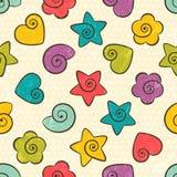 Seamless texturera med färgar formar stock illustrationer