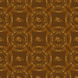 Seamless textures with hop floral ornament on brown background. Royalty Free Stock Photos