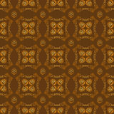 Seamless textures with hop floral ornament on brown background. Stock Image
