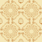 Seamless textures with hop floral ornament on light background. Royalty Free Stock Image