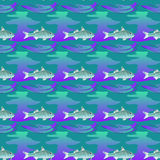 Seamless textures marine ornament with fishes and waves. Stock Photography