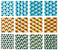 Seamless textures with triangle and diamond stock illustration