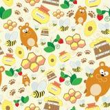 seamless texturvektor Ändlös bakgrund med björnar, honung och getingar Vektorbakgrund för bruk i design Bruk för tapet, f Royaltyfria Foton