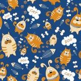 seamless texturvektor Ändlös bakgrund med katter och hundkapplöpning Vektorbakgrund för bruk i design Bruk för tapeten, tyger, p Royaltyfria Bilder