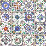 seamless texturvektor Härlig patchworkmodell för design och mode med dekorativa beståndsdelar stock illustrationer