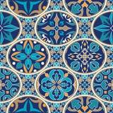 seamless texturvektor Mosaisk patchworkprydnad med ovala beståndsdelar Dekorativ modell för portugisiska azulejos royaltyfri illustrationer