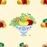 Seamless texure fruit bowl vector. Seamless texture fruit faience bowl healthy food vector illustration Stock Image