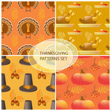 Seamless Thanksgiving day pattern with pumpkins, hats and leaves Stock Image