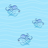 Seamless thin waves and vignette fish in blue colours. Seamless pattern with calm waves. Vector creative concept Stock Photography