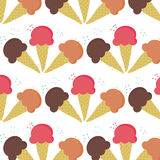 Seamless of three ice-cream flavour isolated on white background. Seamless of three ice-cream cone flavour isolated on white background vector illustrations with Royalty Free Stock Photo