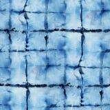 Tie Dye Background. Seamless tie-dye pattern of indigo color on white silk. Hand painting fabrics - nodular batik. Shibori dyeing vector illustration