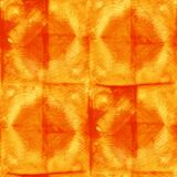 Tie Dye Background. Seamless tie-dye pattern of orange color on white silk. Hand painting fabrics - nodular batik. Shibori dyeing vector illustration