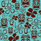 Seamless Tiki Mask Pattern stock photo
