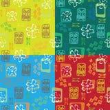 Seamless  Tiki pattern x 4. Colors Royalty Free Stock Photo