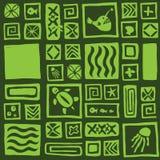Seamless tiki pattern. Seamless green tiki pattern vector Royalty Free Stock Image