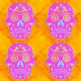 Pink Yellow Sugar Skull Pattern royalty free stock photo
