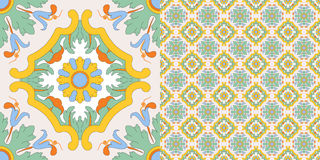 Seamless tile decoration in old sicilian style Royalty Free Stock Image
